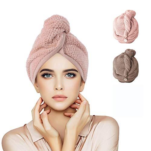 Serviette Cheveux 2 Pcs Serviettes de Toilette Serviette de Bain Super Absorbant à Séchage Rapide pour Femme