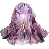 Yuson Girl Bufanda Seda Mujer Chal Gasa Pañuelo de Seda Elegante Multicolor Mantón Ultraligero Transpirable Chifon Silk Scarf 160 * 50cm