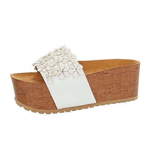 Ital Design Damenschuhe Sandalen & Sandaletten Pantoletten Synthetik Weiß Gr. 36