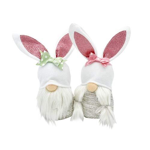 Moent 2PC Easter Gnome Bunny Decoration,Spring Plush Handmade Faceless Doll Desktop Rabbit Table Ornaments,Festival Swedish Dwarf Gift