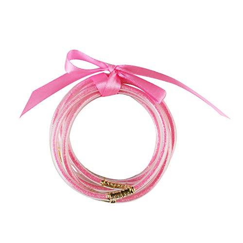 Saniswink Armband für Damen, zum einfachen An- und Ausziehen des Handgelenks, 5 Stück/Set für Frauen, glitzernd, Silikon-Armband, Schleife, Armreif, Party-Schmuck 1 rosarot