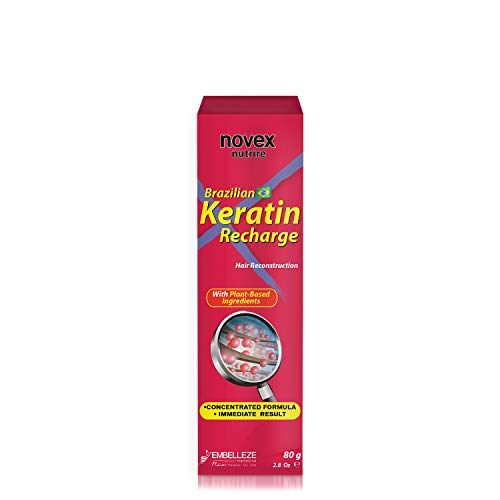 Novex Brazilian Keratin Recharge Tube Leave In 80g/ 2.8oz - Reconstructive Keratin, Frizz control & Damage Repair