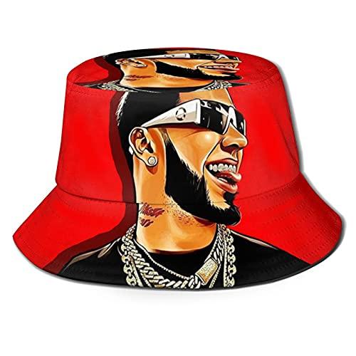 Marat Sombrero de cubo para Anuel Aa 3D unisex sol al aire libre sombrero de ala ancha sombreros unisex verano pesca Cap negro
