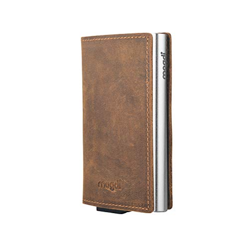 Premium Herren Portmonee RFID Schutz Kartenetui Business Geldbörse feinstes A++ Echtleder mogdi Nano Mini Duo Wallet Geldbeutel (Silber, Nano)