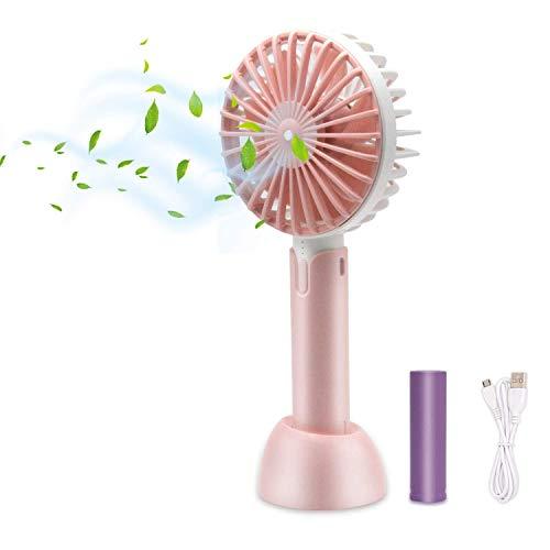 HOTLIFE Mini USB Ventilateur à Main, USB Rechargeabl avec 3 Vitesses Réglable Portable Fan, 2 en 1-Batterie Rechargeable 2600mAh Ventilateur Mini Fan pour Maison Bureau et Voyage (Pink)