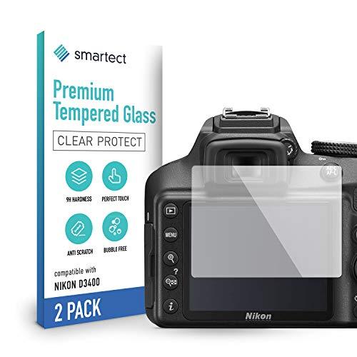 smartect Cristal Templado para Móvil Nikon D3100   D3200   D3300   D3400 [2 Unidades] - Protector de pantalla 9H - Diseño ultrafino - Instalación sin burbujas - Anti-huella