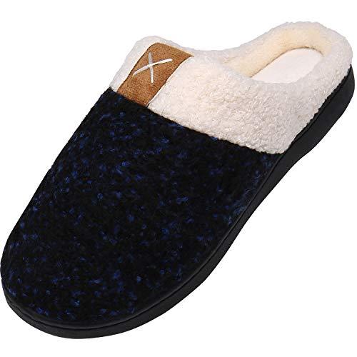 Zapatillas de Estar por Casa para Hombre Invierno Ultraligero Cómodo y Antideslizante Pantuflas Suave Cálido Zapatillas de Casa, Suave Azul 44/45 EU