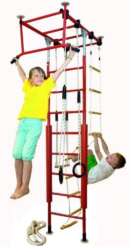 KletterDschungel - das Original - in Kindergartenqualität. Das Indoor Spielhaus als Turngerät und Sprossenwand(Rot, Raumhöhe_240-300cm)