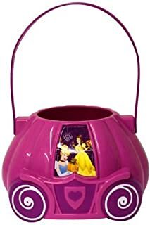 Disney 11 Inch Cinderella with Pumpkin and Belle Pink Carriage Figural Plastic Halloween Bucket