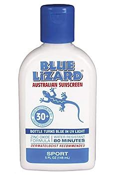 Blue Lizard Sport Original Mineral-Based Sunscreen – Original Australian Formula – SPF 30+ UVA/UVB Protection 5 oz