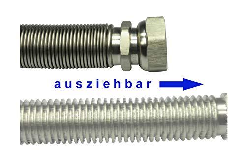 Edelstahlwellrohr DN15 ausziehbar, formstabil, 1/2' ÜM x 1/2' AG, Highflex Edelstahlschlauch 1.4404 variable Längen von 75-130mm bis 1.000-2.000mm, Schlauchlänge variabel:von 75 bis 130 mm