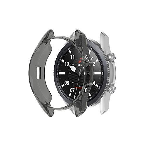Ruentech Funda compatible con Samsung Galaxy Watch 3 45 mm, carcasa protectora de protección, accesorios, cristal protector de TPU, marco protector de parachoques (negro)