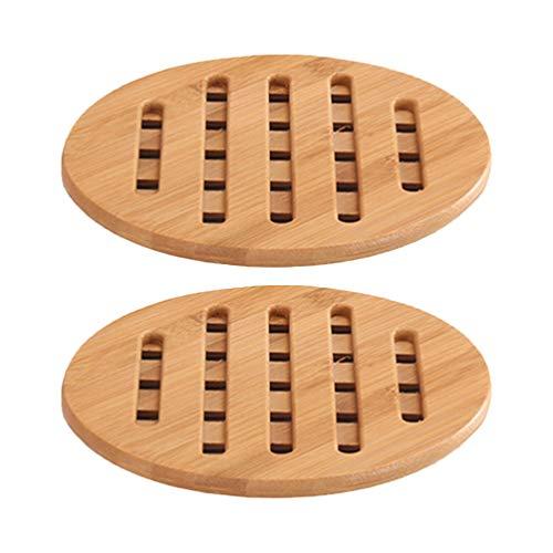 Hemoton 2 piezas de bambú natural salvamantel aislamiento térmico bambú madera salvamanteles almohadillas calientes duraderas salvamanteles para cocina doméstica (redondo de gran tamaño)
