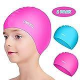 OMERIL Swim Caps, 2 Packs Durable Silicone Kids Swimming Caps. 3D Ergonomic Fit