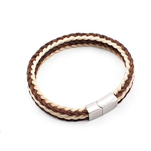 crintiff - Horsehair Bracelet Square Braided for Men and Women - Collection Rodeo - Color Brown - Size 7.1/7.5in - Medium