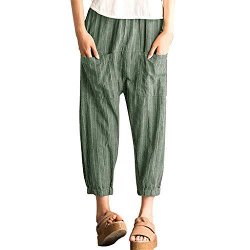 RISTHY Mujer Pantalones de Lino Harem Pantalones Deportivos Harem Pantalón Holgados Cintura Alta Polainas para Danza, Yoga, Ganduleado, Fitness