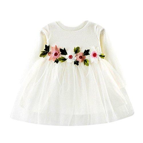LEXUPE Cute Baby Mädchen Weihnachten Bekleidung Set Warm Fleece Top Pullover Weihnachten Kleid + Mütze Weihnachtskostüm Gr. 80 86 92(Weiß,8)