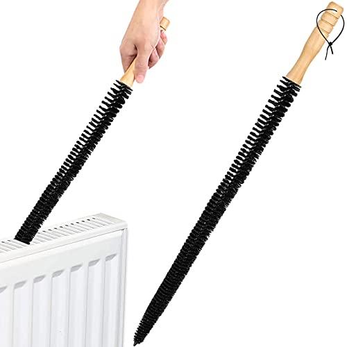 Sanggi Brosse de radiateur avec manche en bois long et flexible - Brosse à poils doux