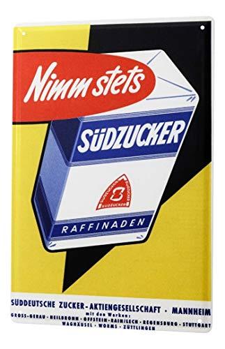 LEotiE SINCE 2004 Blechschild Südzucker Werbeschild Nimm stets Südzucker Zucker Historische Werbung Old School 20x30 cm Wohnungsdeko Dekoschild Nostalgie