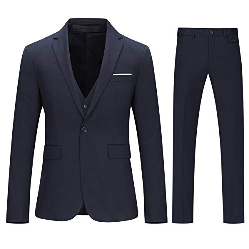 YOUTHUP Abito Uomo Slim Fit Elegante 3 Pezzi Abito Completo Giacca Blazer Gilet Pantaloni