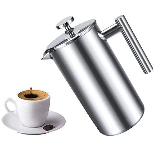 Cafetera de prensa francesa de acero inoxidable, doble pared aislada para café y té y café, mantiene el café o té caliente (800 ml)