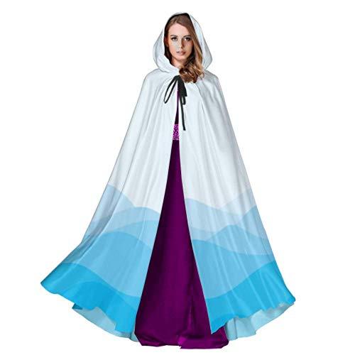 ZHANGhome Entwerfen Sie blauen Wellen-Erwachsenen Mantel-großen mit Kapuze Mantel 59inch für Weihnachtshalloween Cosplay-Kostüme