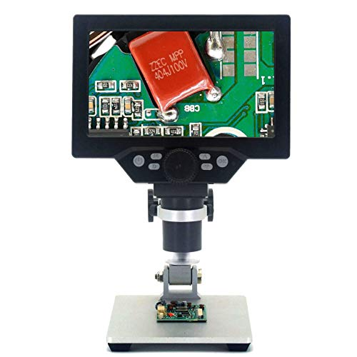 7Inch HD LCD Display 12 Megapixel Digital Microscope 1-1200X Continuous Zoom Camera Angle Adjustable Metal Base with 8 LED Lights