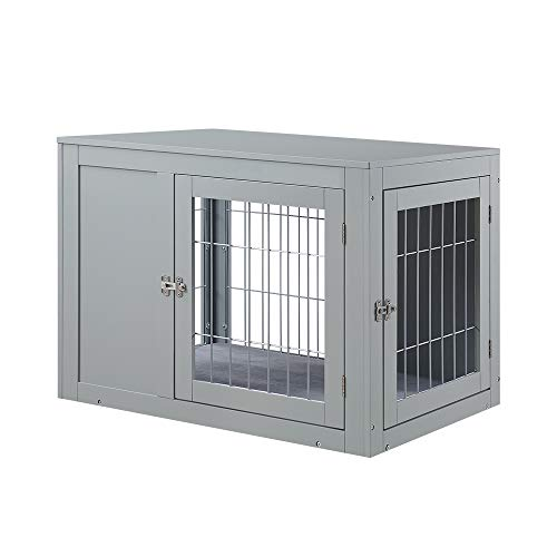 unipaws Dog Crate End Table with Cushion, Wooden Wire Pet Kennels with Double Doors, Modern Design Dog House, Medium Crate Indoor Use, Chew-Proof, Gray