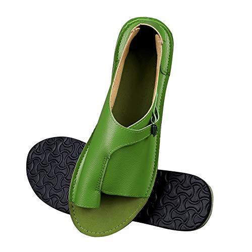 LWYY Sandalias De Mujer,Zapatos De Mujer Verde Sandalias De Cuero De Imitación Suave para Mujer Sandalias Planas para Mujer Zapatos De Playa Ocasionales De Verano Hebilla Femenina,39
