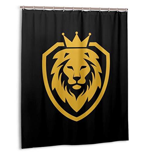 MAYUES Cortina de baño, ilustración Juego de Cortinas de baño con Logo del Escudo del Rey León con Ganchos