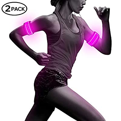 BSEEN Pack of 2pcs- LED Sports Saftey Flashing Reflective Armband with High Visibility Light up Glow in The Dark Bracelet for Cycling, Jogging, Walking and Running (Pink)