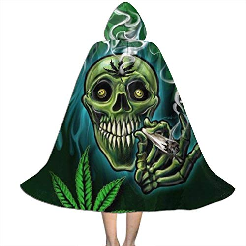 KDU Fashion Wizard Cape,Happy Skull Head Rauchen Marihuana Leaf Weed Witch Kinder Wizard Cloak Cape, Premium Hooded Witch Cloak Umhänge Für Familie Freunde Versammeln,118cm