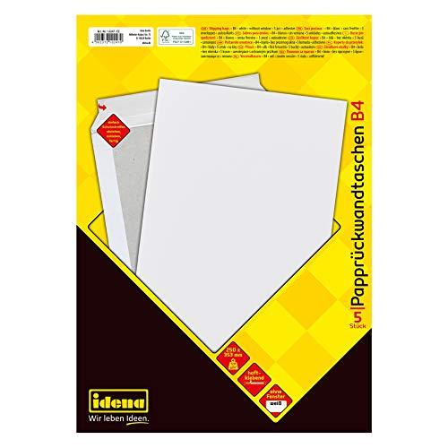 Preisvergleich Produktbild Idena 10247 - Versandtasche DIN B4,  120 g / m²,  haftklebend,  mit Papprückwand,  ohne Fenster,  FSC-Mix,  weiß,  5 Stück