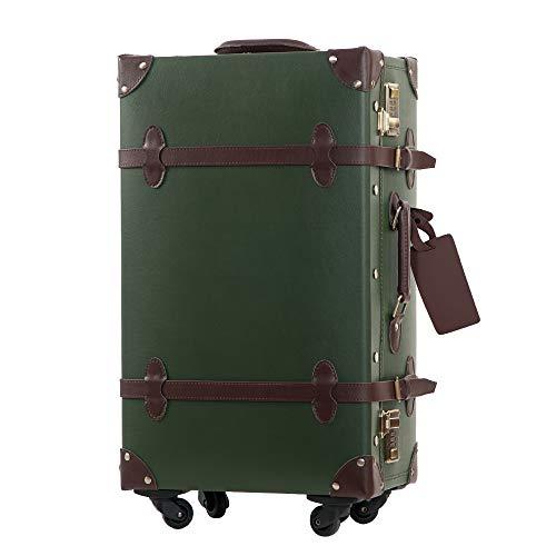 TANOBI トランクケース キャリーバッグ SS機内持込可 手作り 復古主義 修学旅行 ネームタグ レトロ おしゃれ かわいい 13色4サイズ(一年安心保証) (アーミーグリーン, SSサイズ(機内持ち込み可))