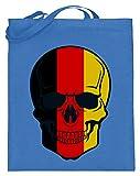 generisch Belgian Skull - Totenkopf Belgien Farben - Schwarz Rot Gold - Black Red Gold - Jutebeutel (mit langen Henkeln) -38cm-42cm-Blau