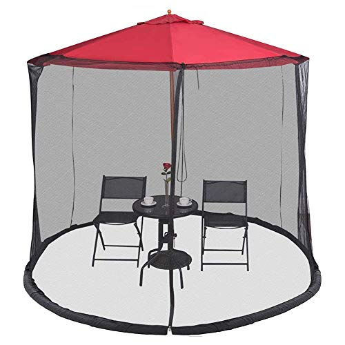 Nfudishpu Parasol Mosquito Net Cover, Umbrella Net, Umbrella Cover Mosquito Netting, Polyester Mesh Netting, with Zipper Opening, Helps Protect from Mosquitoes