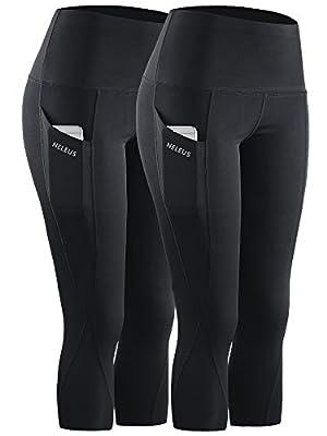 Neleus 2 Pack Tummy Control High Waist Workout Yoga Capri Leggings Yoga Pants,9027,Black,US L,EU XL