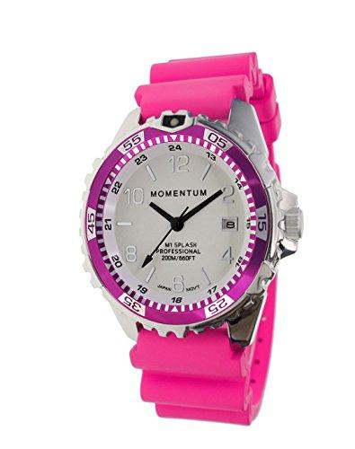 Momentum Damen Quarzuhr M1 Splash by Momentum - Saphir - Stahl Uhren für Frauen - Taucheruhr mit japanischem Uhrwerk & Analog-Display - wasserdichte Damenuhr mit Datum - Lume/Magenta Gummi