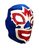 Mask Maniac Adult Lucha Libre Lace up Wrestling Mask - Blue/White/Red