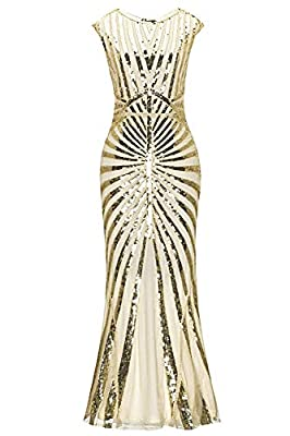 Women 1920s Flapper Great Gatsby Dresses Sequin Mermaid Formal Long Gown Party Evening Dress GA25