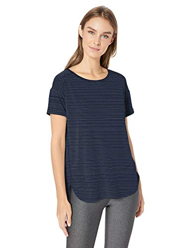 Amazon Essentials Women's Studio Relaxed-Fit Lightweight Crewneck T-Shirt, -navy stripe, XX-Large