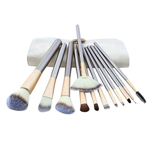 nbvmngjhjlkjlUK 12pcs Pinceau de Maquillage Professionnel Ensemble Fibre Artificielle Douce Visage Ombre à paupières Fondation Blush lèvre Maquillage Pinceau kit d'outils (Beige)