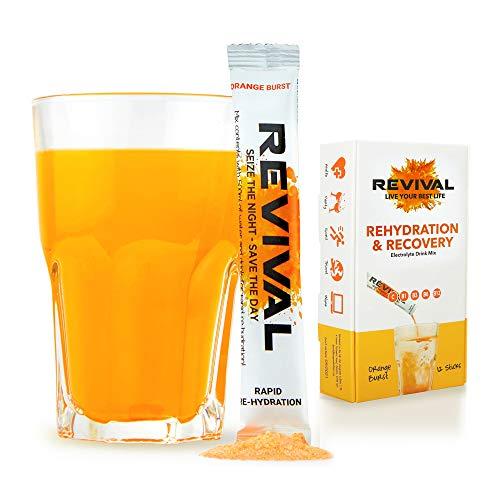 Revival, Rapid Rehydration: Elektrolyt-Pulver - Vitamin-C-Ergänzung, hochwirksame Vitamin-C-Ergänzung, Rehydrierungsbeutel-Drink, Brauselektrolyt-Hydratisierungstabletten – Orange 12 Sticks
