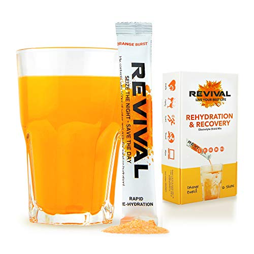 Revival Rapid Rehydration, Electrolytes Powder - High Strength Vitamin C, B1, B3, B5, B12 Supplement Sachet Drink, Effervescent Electrolyte Hydration Tablets - 12 Pack Orange