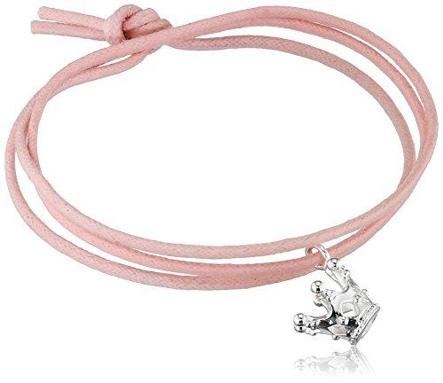 Heartbreaker Armband aus der Kollektion Herzenswünsche Mut aus Baumwolle | Unisex-Armband mit Kronen Anhänger | Edles Freundschafts-Armband versilbert