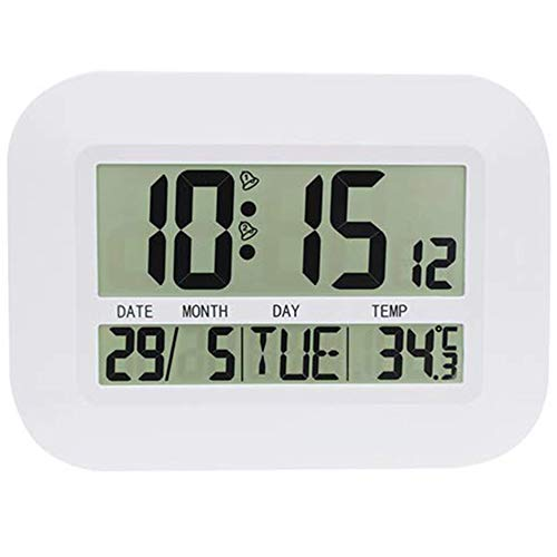 Summerwindy Reloj de Pared Digital Funciona a Batería Simple LCD Gran