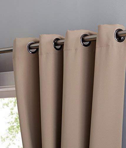 Nicole – Panel de cortina opaca con aislamiento térmico premium – 8 ojales – 1 alzapaños de cuerda – 108 pulgadas de ancho – 1 panel de 54 ancho x 108 l, color gris pardo)