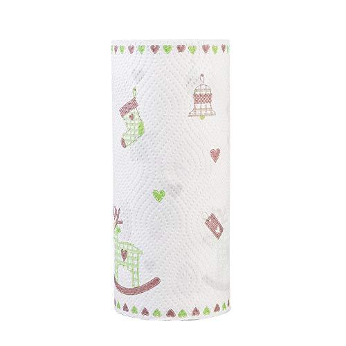 JJFU Papier Absorbant Papier Rouleau Cuisine3 Pcs Imprimé Papier De Cuisine Jetable Nettoyage Paresseux Chiffon Papier Absorbant Huile Absorbant Essuyer Serviette-C