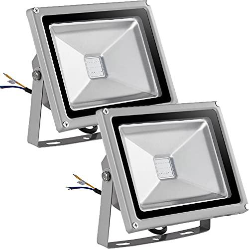 20W Foco LED RGB de Colores, Focos LED Exterior IP65Impermeable con Mando a Distancia, 16 colores 4 modos Ritmo Musical Aplique Pared Exterior para Jardín Fiesta Navideña Iluminación (2 Pack)