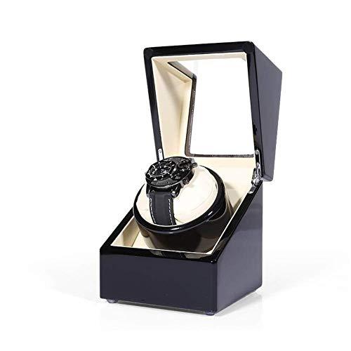 CCAN Enrollador de Reloj Individual para Relojes automáticos Pantalla 5 Modos Estuche de Almacenamiento de Madera Pintura de Piano Negro Brillo Deluxe Motor silencioso Enrollador de Reloj de Pulsera